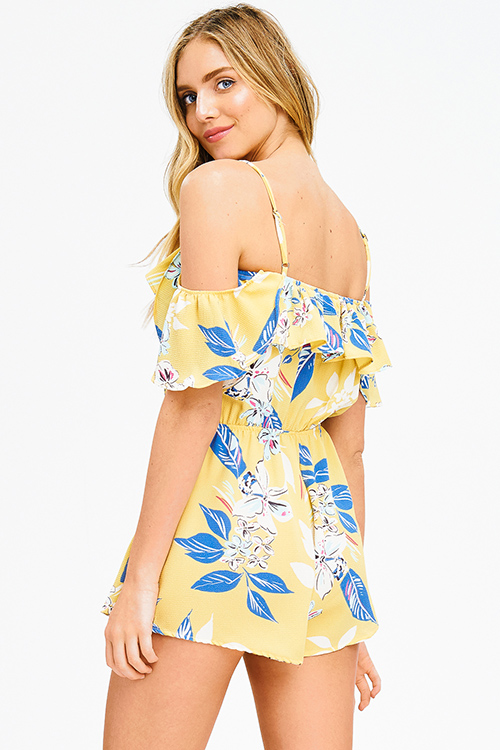 Cute cheap yellow floral print ruffle tiered cold shoulder boho romper playsuit jumpsuit
