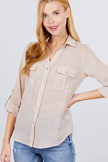 $12.00 - Cute cheap beach cover up - 3/4 roll up sleeve shirts