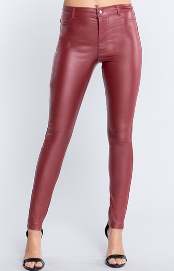 $10.50 - Cute cheap interview outfits - 5 pocket shape pu stretch leather long pants