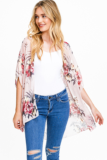 $15 - Cute cheap print chiffon boho top - Pink floral print sheer chiffon short sleeve open front boho kimono top