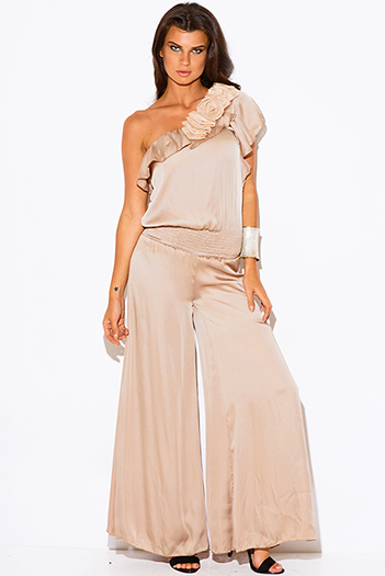 $20.00 - Cute cheap blush pink off shoulder bustier v neck flutter sleeve wide leg evening sexy party playsuit jumpsuit - Mocha beige one shoulder ruffle rosette wide leg formal evening party cocktail dress jumpsuit