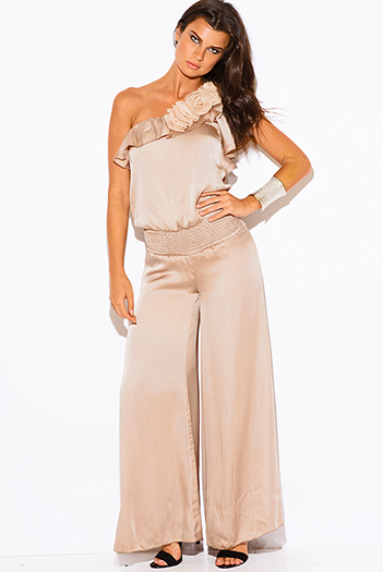 $15 - Cute cheap open back fitted sexy party catsuit - Mocha beige one shoulder ruffle rosette wide leg formal evening party cocktail dress jumpsuit