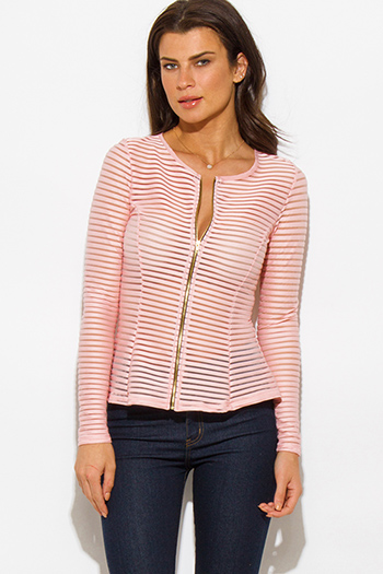 $15 - Cute cheap pink multicolor floral print sheer stripe mesh fitted quarter sleeve zip up jacket top - pink semi sheer stripe mesh fitted zip up jacket top