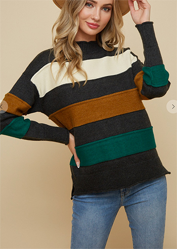 $15.50 - Cute cheap shawl wrap sweater with wide stripe1602854869637 -