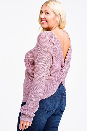 $25 - Cute cheap Plus size mauve knit long sleeve v neck twist knotted back boho sweater top