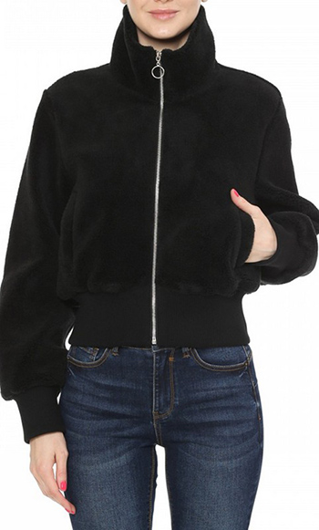 $22.00 - Cute cheap a bomber jacket in a faux sherpa fabrication featuring a high neck - A bomber jacket in a faux sherpa fabrication featuring a high neck