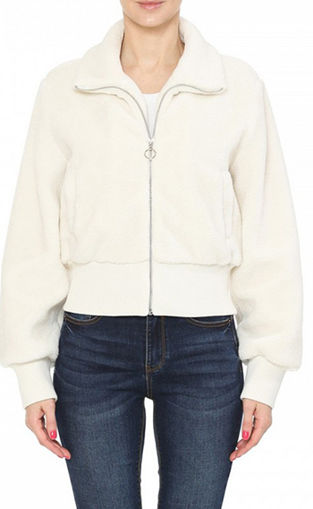 $22.00 - Cute cheap fall - A bomber jacket in a faux sherpa fabrication featuring a high neck