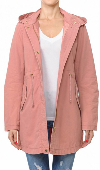 $28.00 - Cute cheap plum wine tencel long sleeve drawstring waisted button up zip up hooded anorak trench coat jacket - A hooded anorak jacket in a washed cotton twill fabrication
