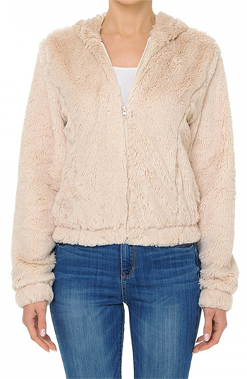 $19.50 - Cute cheap ivory white sheer crochet knit long sleeve scallop hem hooded boho top - A hooded zip-front bomber jacket in a long pile faux fur fabrication