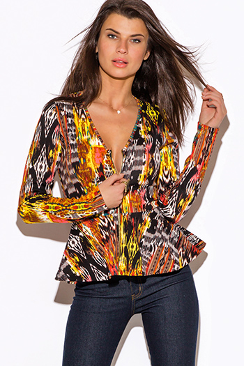 $20 - Cute cheap peplum top - abstract yellow orange ethnic print zip up long sleeve peplum blazer jacket top