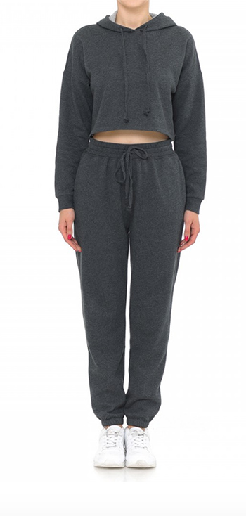 $29.50 - Cute cheap active fleece long sleeve crop hoodie top and fleeece pants set