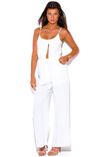 $20 - Cute cheap ivory white sheer floral polka dot lace mesh laceup scallop hem boho wide flare leg pants - all white pocketed cut out center wide leg summer sexy party jumpsuit