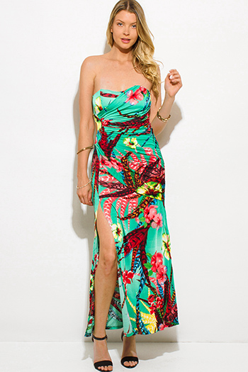 $15 - Cute cheap print slit formal dress - aqua green tropical floral print cut out ruched high slit strapless evening long maxi dress