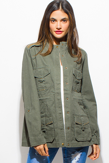 $25 - Cute cheap black zip up stripe banded crop bomber jacket - army olive green studded laceup back utility cargo anorak jacket