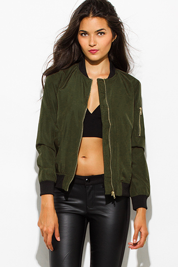 $15 - Cute cheap ivory white mandarin collar long sleeve zip up fitted jacket crop top - army olive green zip up banded cropped bomber jacket top