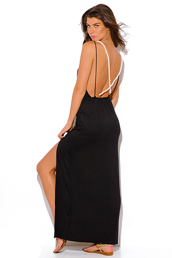 $15 - Cute cheap black chiffon deep v neck double high slit criss cross backless evening sexy party maxi dress - black backless high slit pearl bejeweled evening party maxi dress