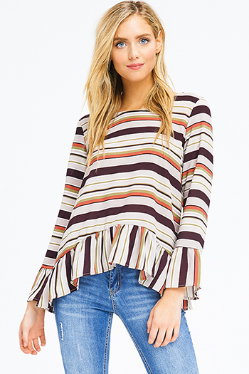 $15 - Cute cheap white chiffon blouse - beige brown multi striped long bell sleeve peplum ruffle hem tie back boho blouse top