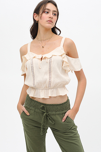 $19.5 - Cute cheap mustard yellow floral print v neck ruffle butterfly sleeve tie back boho blouse top - Beige crochet lace ruffle trim cold shoulder boho cropped blouse top