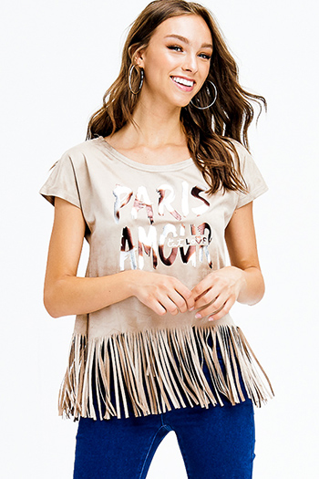 $9 - Cute cheap print cotton boho top - beige faux suede graphic print short sleeve fringe hem top