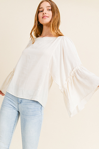 $15 - Cute cheap strapless top - Beige linen blend tiered angel bell sleeve reversible button up boho blouse top