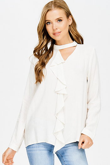 $15 - Cute cheap blue stripe embroidered quarter sleeve button up boho blouse pinstripe top - beige linen cut out choker mock neck ruffle trim long sleeve boho blouse top