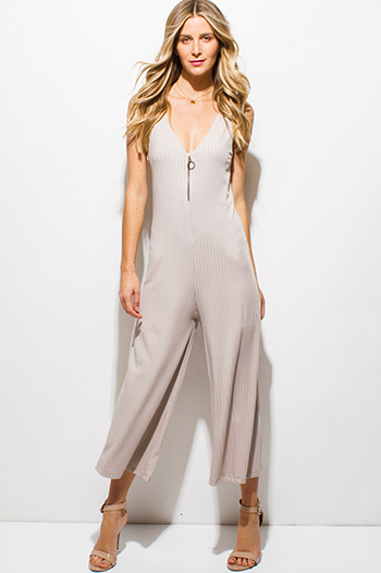 $15 - Cute cheap jumpsuit - beige ribbed v neck sleeveless zip up wide leg cropped jumpsuit