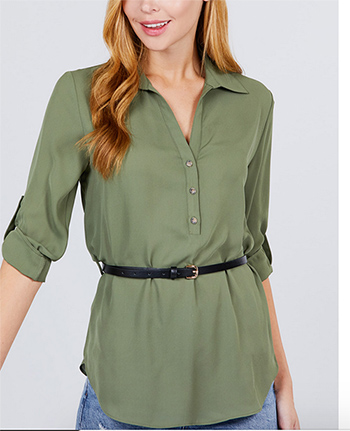 $17.75 - Cute cheap belted woven top