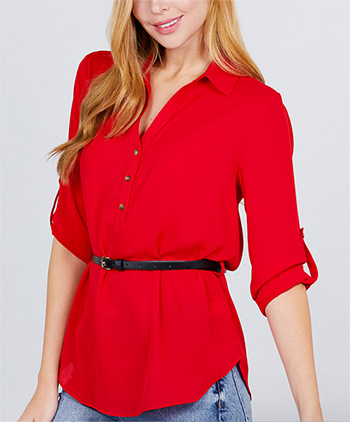 $17.75 - Cute cheap chiffon top - belted woven top