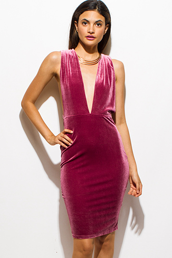 $15 - Cute cheap draped open back dress - magenta berry red velvet deep v neck twist strap backless pencil fitted cocktail sexy party mini dress