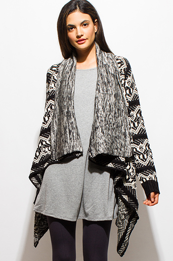 $20 - Cute cheap animal print leather top - black abstract ethnic print sweater knit open front waterfall cardigan top