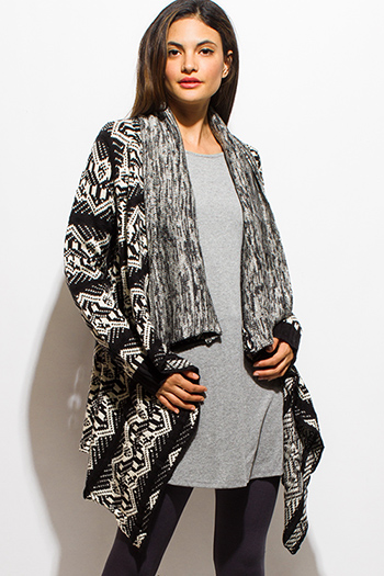 $20 - Cute cheap career wear - black abstract ethnic print sweater knit open front waterfall cardigan top