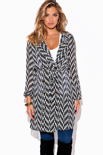 $20 - Cute cheap sheer tunic dress - black abstract print chiffon blouson sleeve semi sheer double breasted trench coat dress