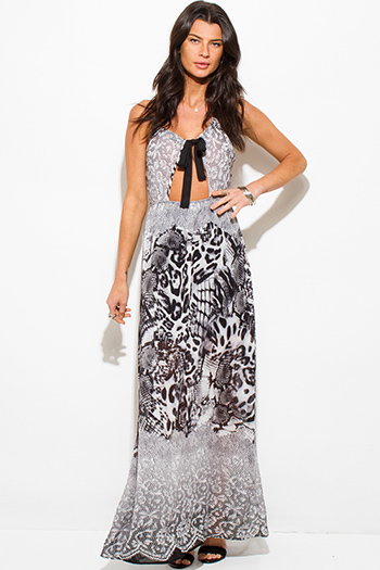 $15 - Cute cheap ruffle open back dress - black abstract snake animal print cut out halter cross back maxi sun dress