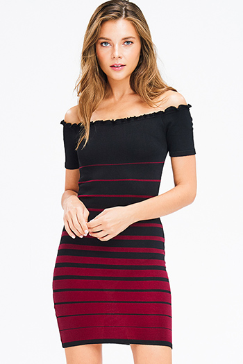 $20 - Cute cheap denim bejeweled fitted jeans - black and burgundy red striped ribbed knit lettuce hem off shoulder bodycon fitted sexy club mini dress