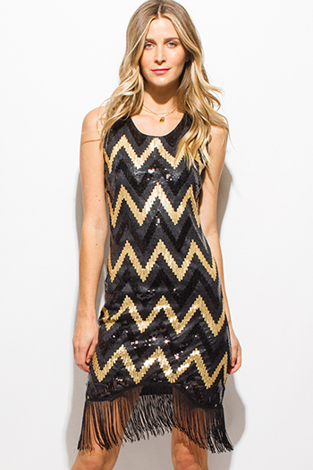 $15 - Cute cheap gold metallic print black chiffon cape one shoulder cocktail sexy party mini dress - black and gold sequined chevron print sleeveless fringe trim party mini dress