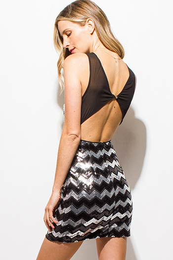 $15 - Cute cheap ruffle sheer party top - black and silver chevron sequined sleeveless sheer mesh cut out back party sexy club mini dress