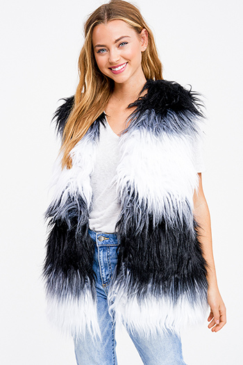 $19.00 - Cute cheap mocha taupe brown sweater knit fringe trim faux fur lined hooded boho poncho top - Black and white color block shag faux fur open front sexy party vest top