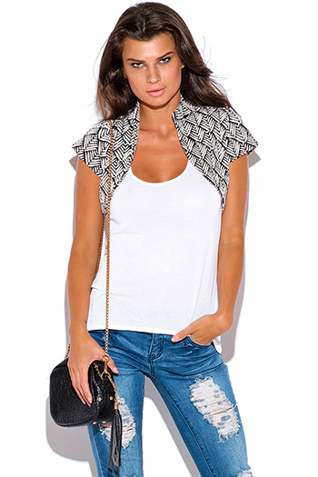 $7 - Cute cheap black fishnet mesh overlay short sleeve sexy clubbing crop top - black and white palm print bolero blazer crop top