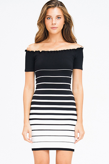 $25 - Cute cheap v neck evening dress - black and white striped ribbed knit lettuce hem off shoulder bodycon fitted sexy club mini dress