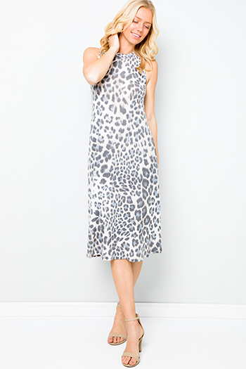 $35 - Cute cheap v neck cocktail dress - Black animal cheetah print boho midi tank dress