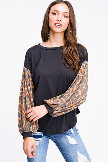 $25 - Cute cheap blue stripe long sleeve tie wrist button up boho blouse top - Black animal print long bubble sleeve round neck boho top