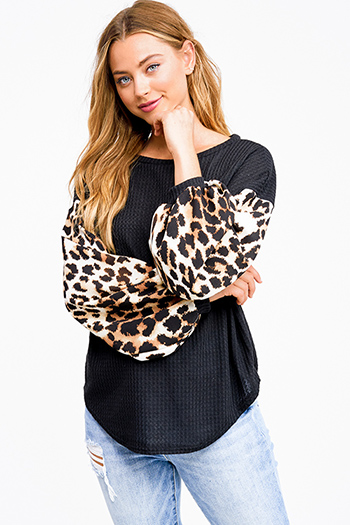 $25 - Cute cheap dusty blue fuzzy knit long sleeve round neck oversized sweater tunic top - Black animal print long sleeve round neck boho thermal top