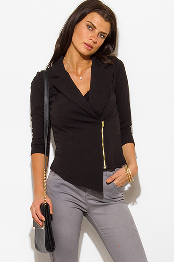$20 - Cute cheap ivory white sheer stripe mesh contrast asymmetrical zip up moto blazer jacket top - black asymmetrical hem quarter sleeve zip up fitted blazer jacket top