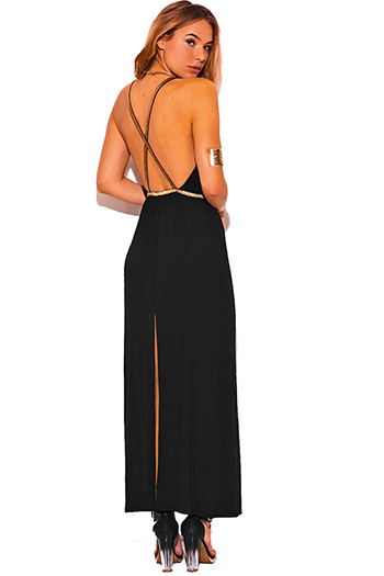 $20 - Cute cheap ruffle sexy party maxi dress - black backless gold metallic criss cross strap slit jersey evening party maxi dress