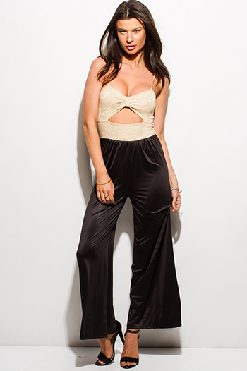$10 - Cute cheap black chiffon golden chain embellished pocketed sexy clubbing jumpsuit - black and khaki beige color block lace sweetheart cut out wide leg evening party jumpsuit
