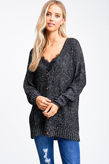 $25 - Cute cheap white asymmetrical hem quarter sleeve zip up fitted blazer jacket top - Black boucle sweater knit long sleeve button up boho cardigan top