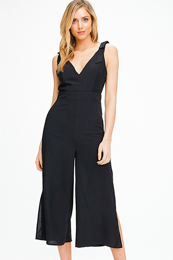 $25 - Cute cheap black linen mid rise tie waisted pocketed resort boho shorts - Black bow strap sleeveless v neck slit wide leg boho culotte jumpsuit