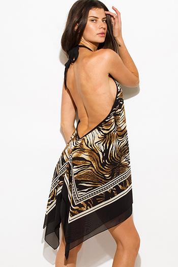 $8 - Cute cheap black crepe dress - black brown animal print high low halter neck backless handkerchief mini sun dress