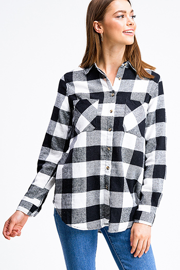 $15 - Cute cheap black long sleeve exposed stitch pocketed open front sweater cardigan - Black buffalo check plaid long sleeve button up flannel top