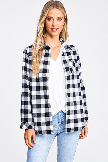 $30 - Cute cheap white asymmetrical hem quarter sleeve zip up fitted blazer jacket top - Black buffalo plaid fleece lined long sleeve button up flannel top